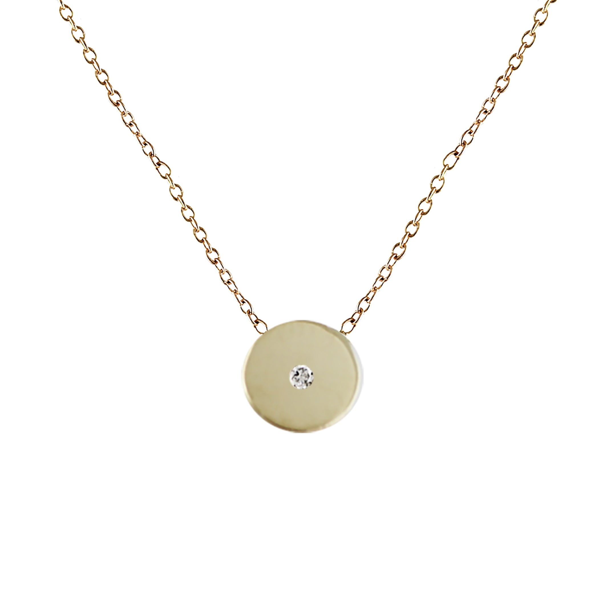 TINY DISK WITH DIAMOND NECKLACE