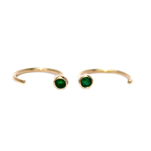 EMERALD TINY HOOPS