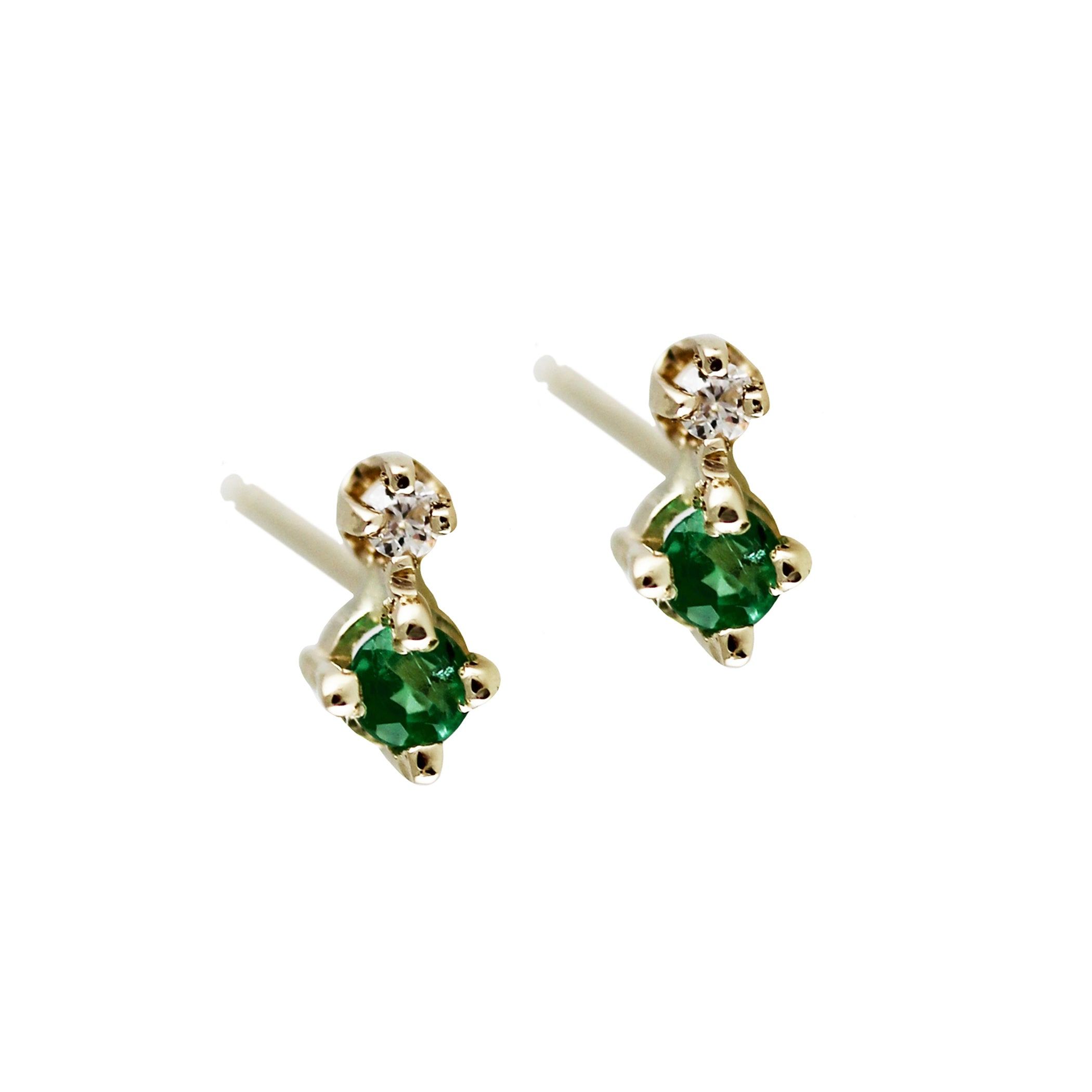 TINY EMERALD AND DIAMOND STUD