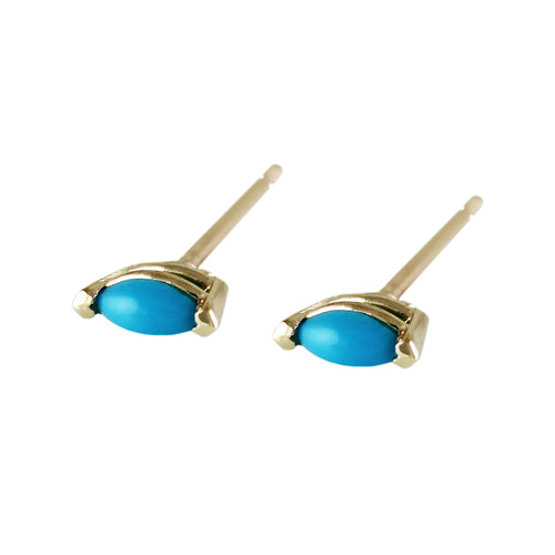 14K TINY TURQUOISE MARQUISE STUDS