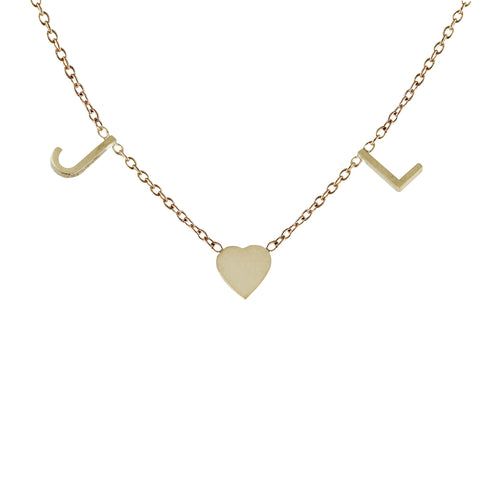 TWO INITIALS WITH HEART NECKLACE