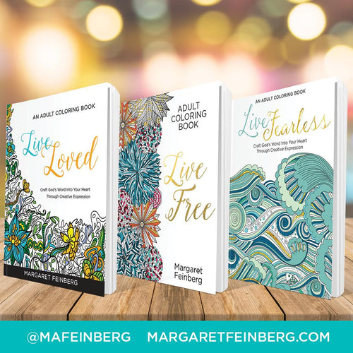 Coloring Book 3-Pack: Live Loved, Live Free, Live Fearless PLUS Free Colored Pencils