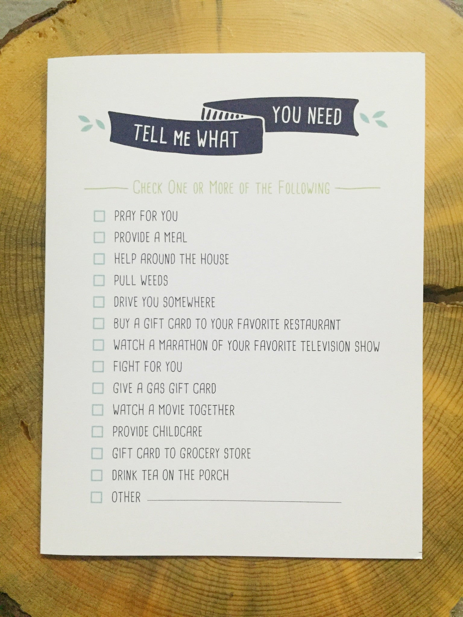 Tell Me What You Need Cards (Set of 8)