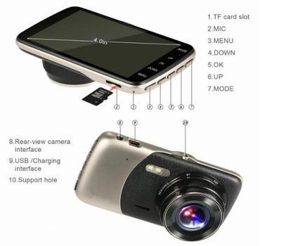 Dual View Dash Camera for Cars