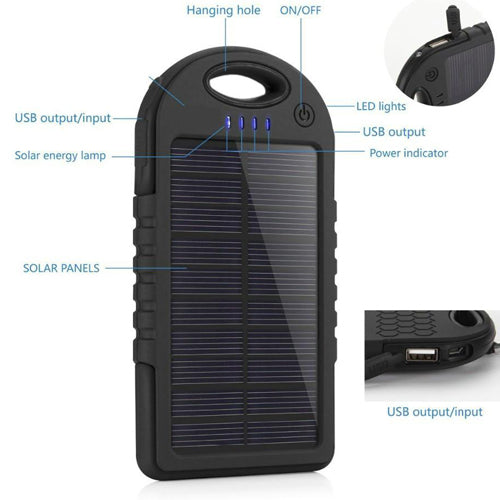 Waterproof Solar Power Bank Charger - Spy Shop SA