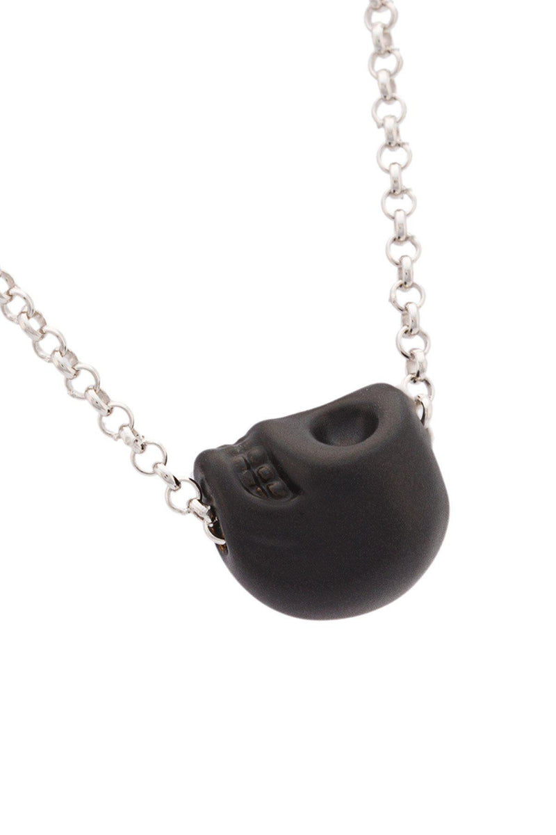 Mini Black Skull Charm Necklace-HÜES-Patron of the New