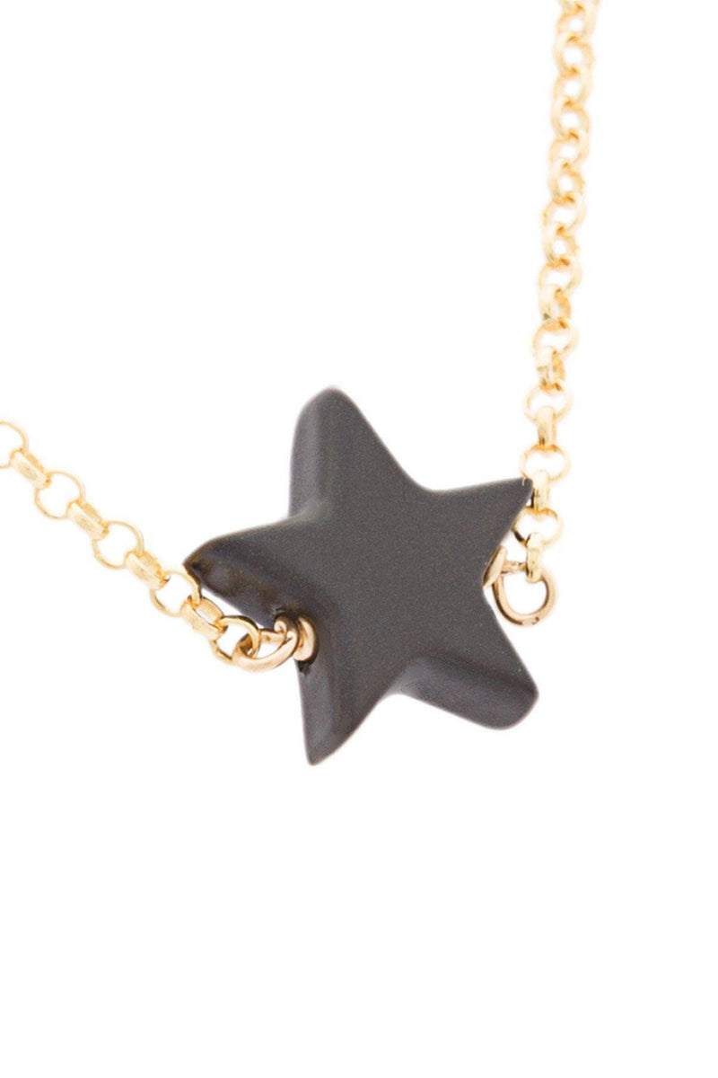 Mini Black Star Charm Necklace-HUES-Patron of the New