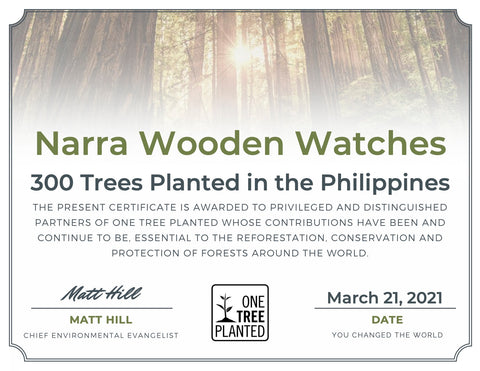 narra wooden watches tree planted