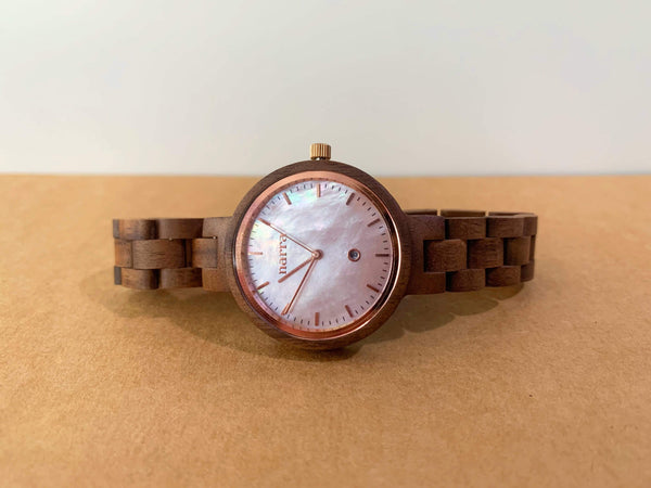 Anilao in Walnut and Pink - Narra Wooden Watches