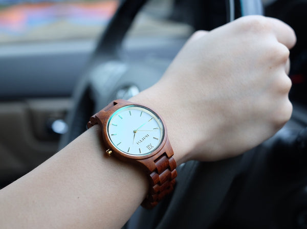 Classic Dawn in Red Sandalwood and White - Narra Wooden Watches