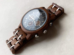 Eclipse in Walnut and Black - Narra Wooden Watches