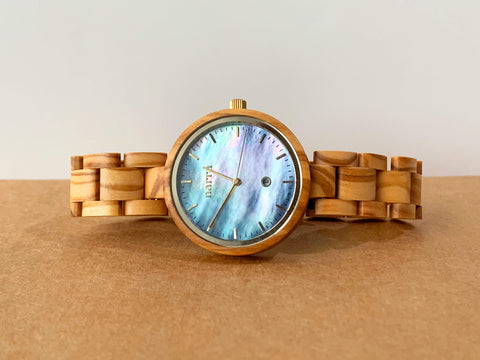 Tubbataha in Olive and Blue - Narra Wooden Watches
