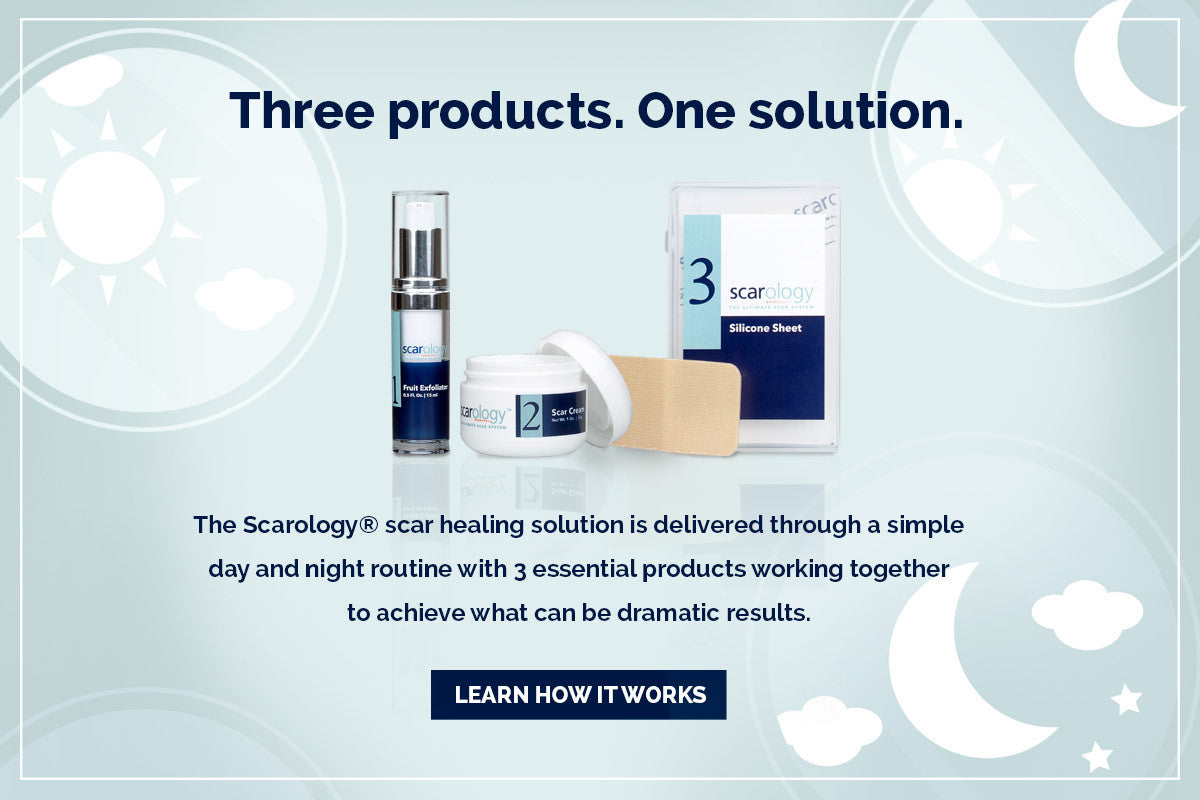 Three products. One solution. The Scarology scar removal solution is delivered through a simple day and night routine with 3 essential products working together to achieve what can be dramatic results.