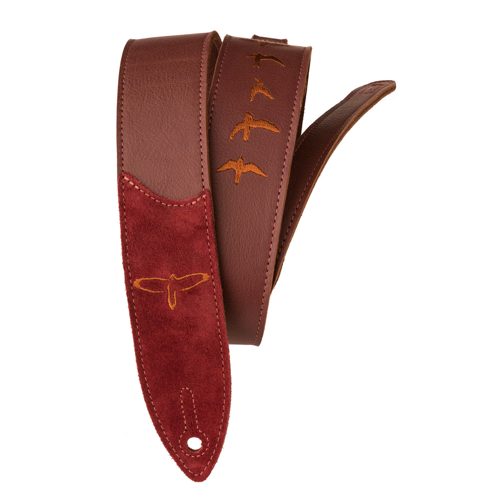 "Premium Leather 2"" Strap Embroidered Birds Burgundy"