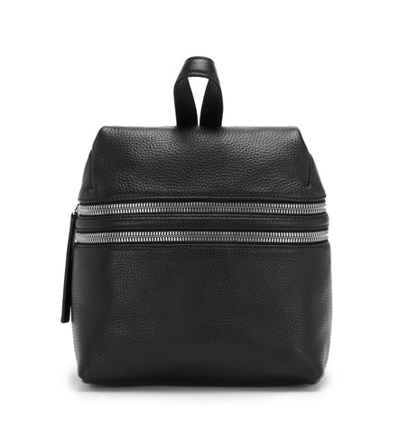 BLACK DOUBLE ZIPPER SMALL BACKPACK