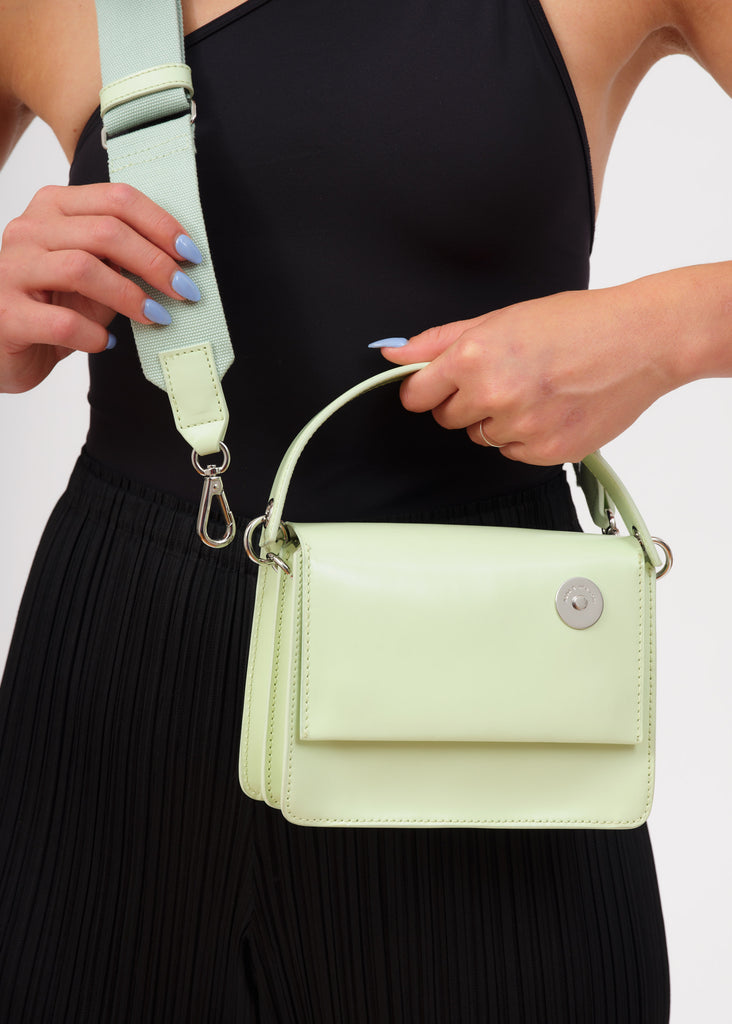 Mint Baby Pinch Shoulder Bag with cotton strap attachment