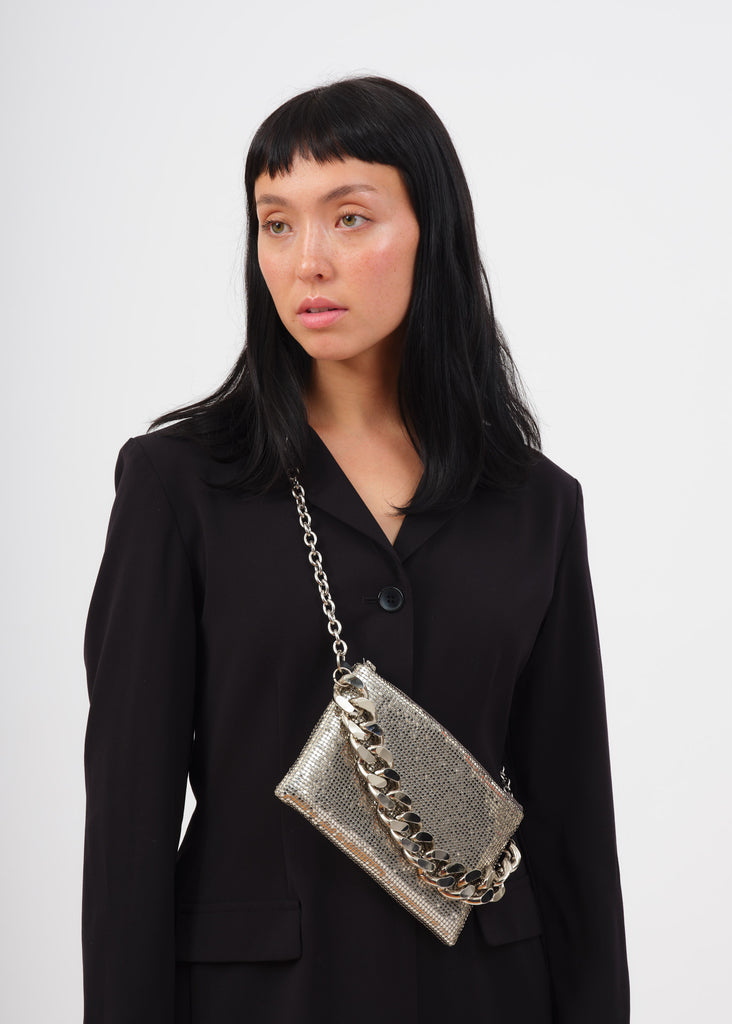Silver chain mail crossbody on model