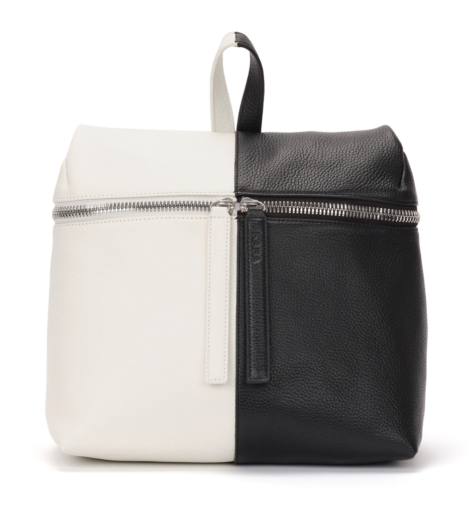 Black and White Pebble Leather Backpack