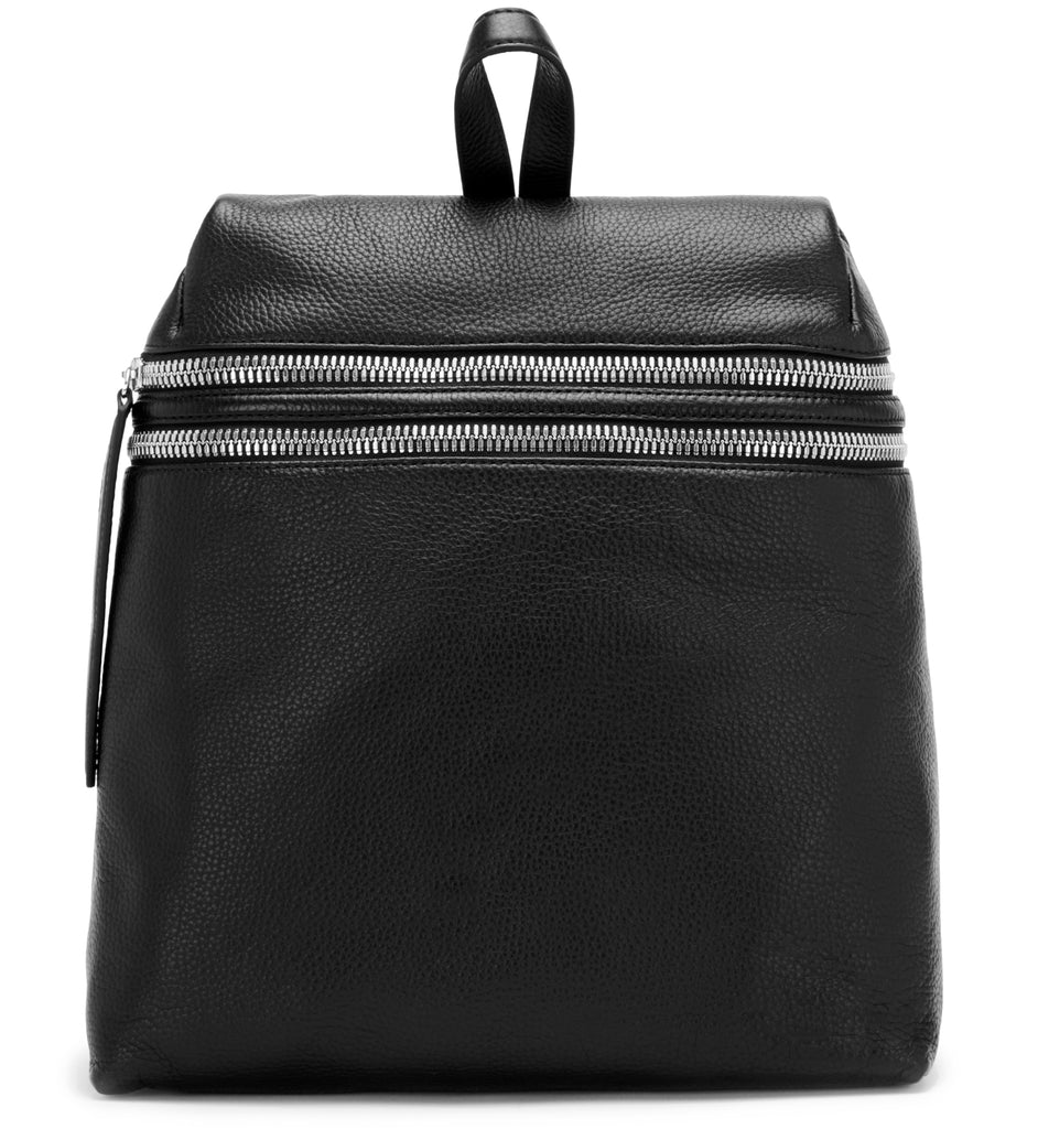 BLACK DOUBLE ZIPPER BACKPACK