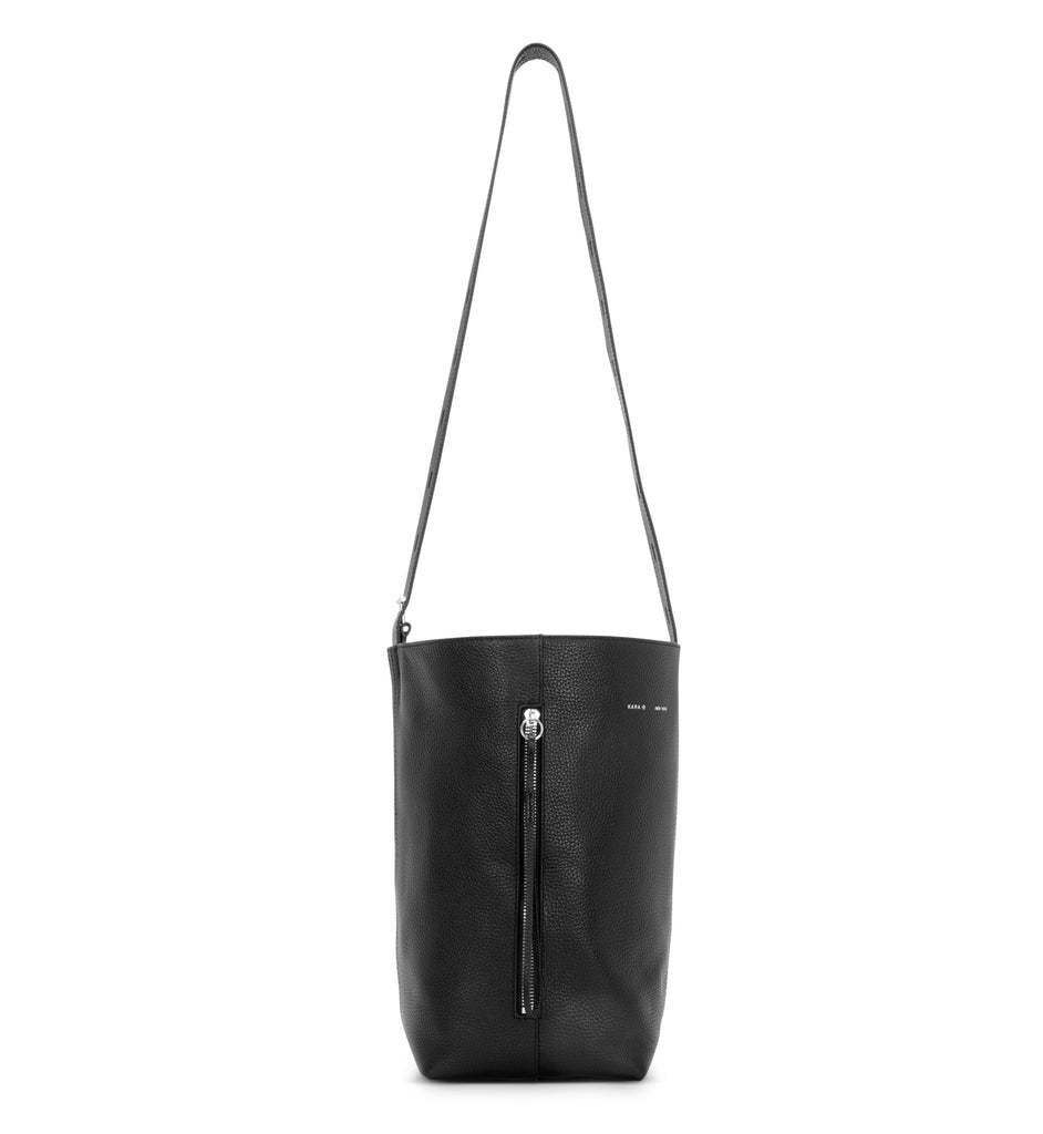 BLACK PEBBLE LEATHER PANEL BUCKET