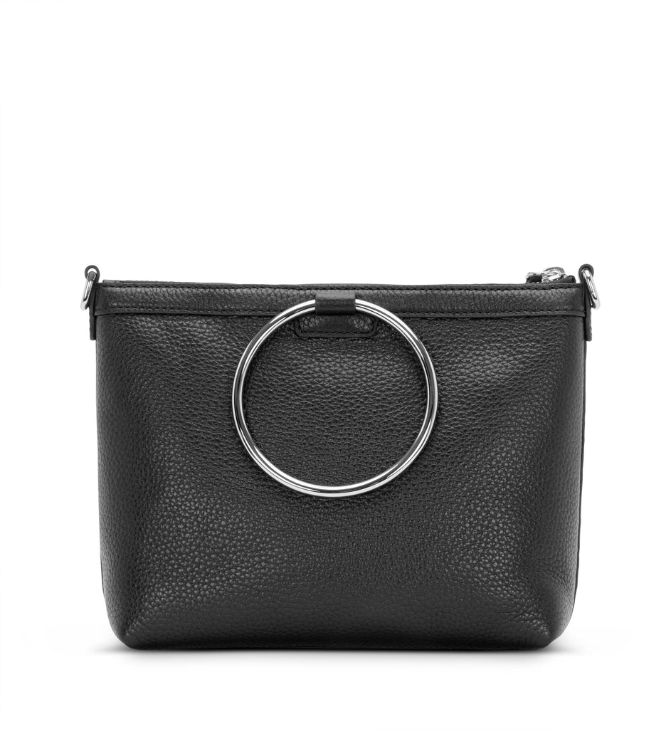 BLACK LEATHER RING CROSSBODY