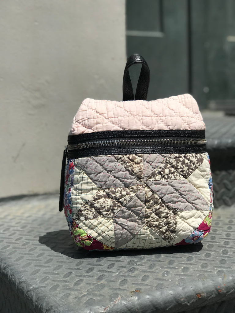 Grey Quilted Small Backpack