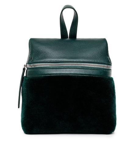 BOTTLE GREEN SHEARLING SMALL BACKPACK