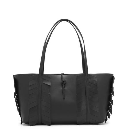BLACK FISHBONE MIDI TIE TOTE