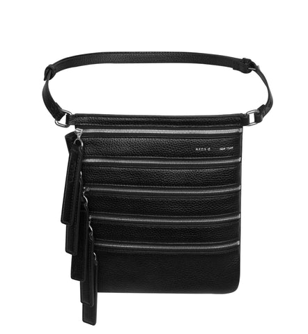 BLACK MULTI ZIP WAIST BAG