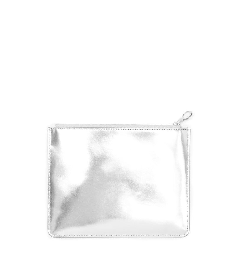 SILVER MIRRORED EIGHT INCH POUCH