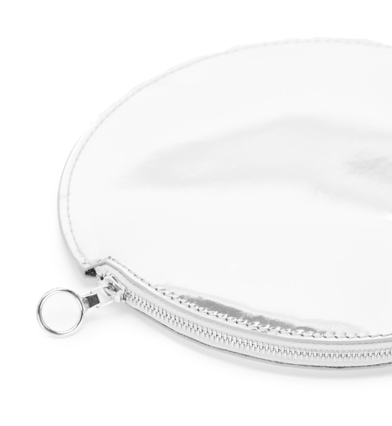 SILVER MIRRORED CIRCLE POUCH w/ CARABINER