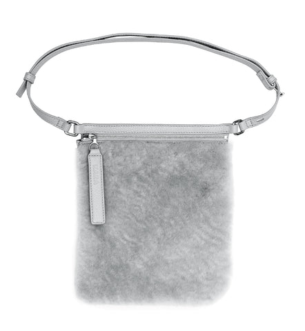 DOVE GREY SHEARLING WAIST BAG