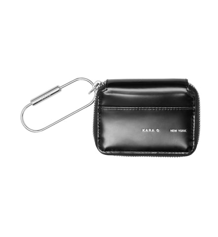 BLACK POLISHED SMALL ZIP WALLET