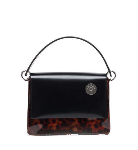 Black and Tortoise Baby Pinch Shoulder Bag