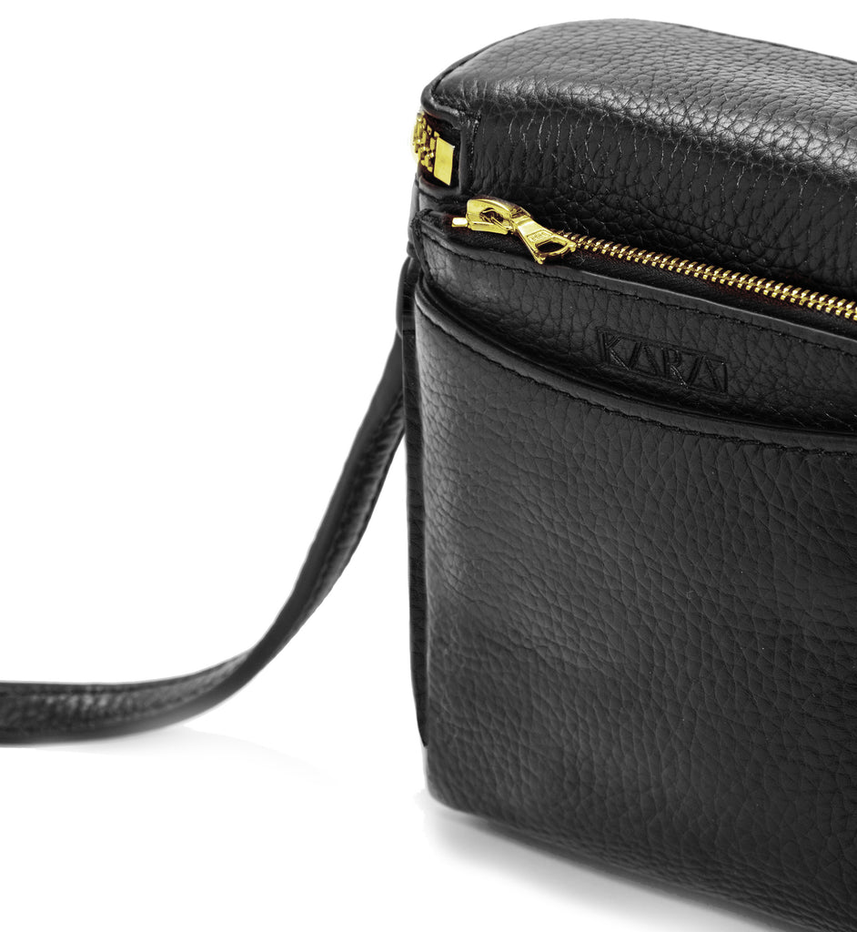 BLACK STOWAWAY WITH GOLD ZIPPER