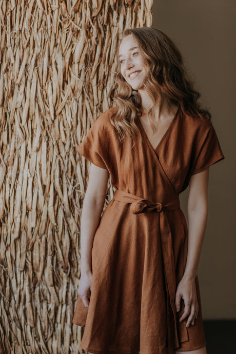 Linen mini boho wrapdress