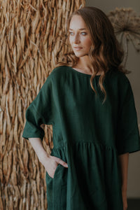 Maxi oversized linen dress with ruffle