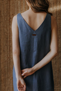 Linen slip dress with slit