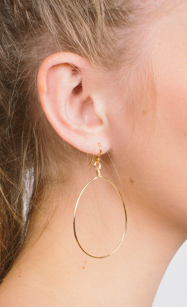 Whitney Shoe - Earring - Whitney Shoe Wire Teardrop Earrings - Gold - Cheeky Peach Boutique - 1