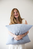 Pillow, Home Room, Blue Herringbone