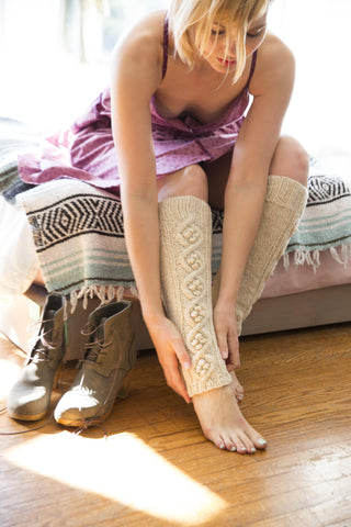 Hand Knit Leg Warmers, cream