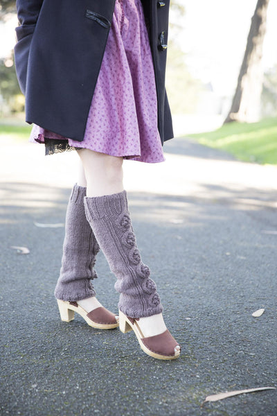 Hand Knit Leg warmers, thistle