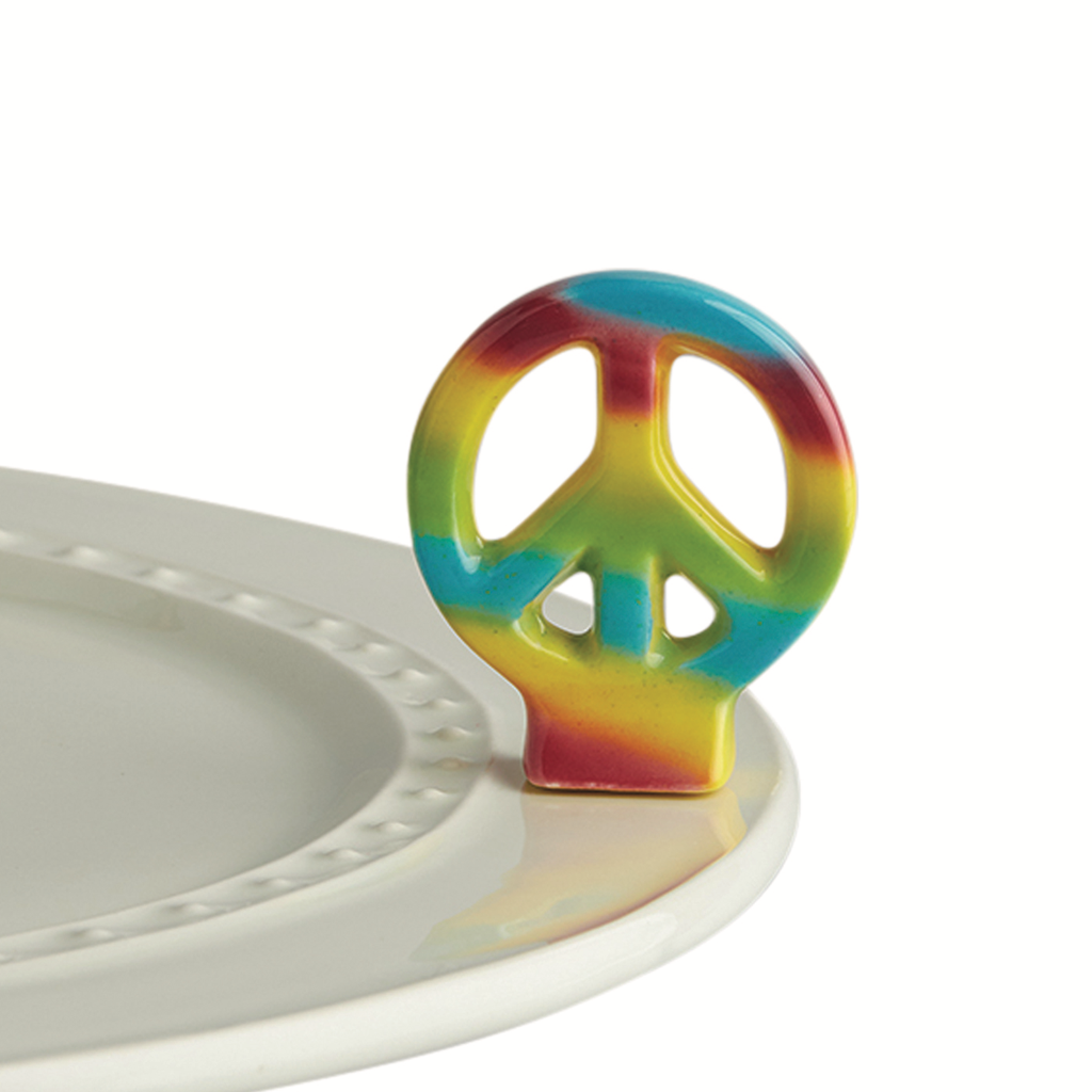 Nora Fleming Rainbow Peace Sign Mini