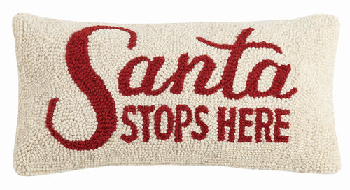 Santa Stops Here Hook Pillow