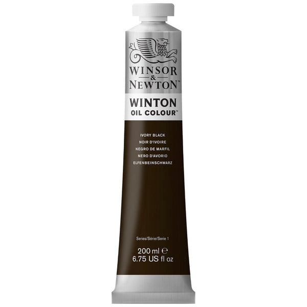 Winton oljemaling, Ivory Black, 200 ml