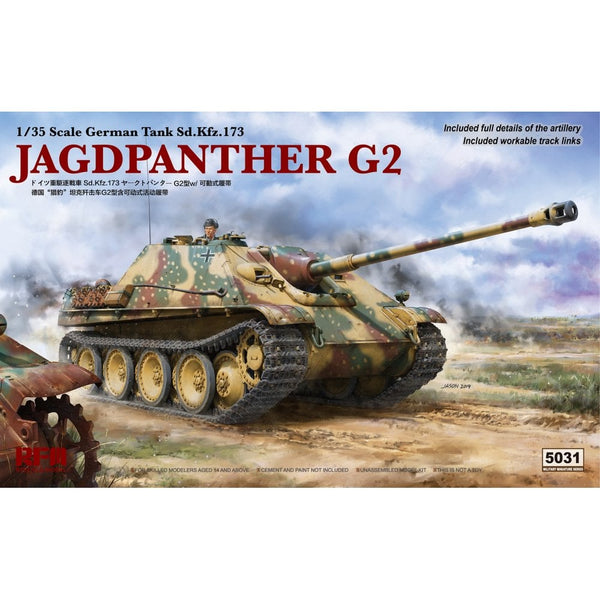 Rye Field 1:35 5031 Sd.Kfz.173 Jagdpanther G2 & Workable Track Links Model Military Kit
