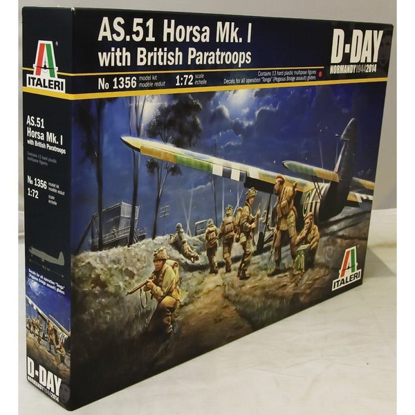 Italeri 1:72 1356 AS.51 HORSA Mk.I with BRITISH PARATROOPS Model Aircraft Kit
