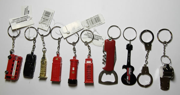 Keyrings London Icons Bottle Opener Guitar Handcuffs Whistle Set of 10 Assorted