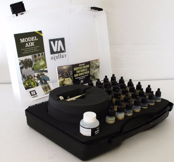 Vallejo 71173 Model Air Box Set Range 29 Military Colours + Harder &  Airbrush
