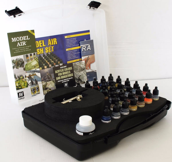 Vallejo 71172 Model Air Box Set Range 29 Basic Colours + Harder &  Airbrush